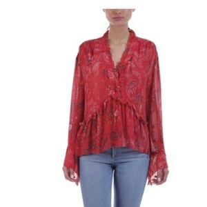 IRO JEANS ravone red floral long sleeve blouse
